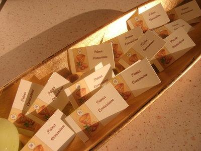 Bigliettini bomboniera porta confetti per battesimo, cresima, matrimonio, laurea