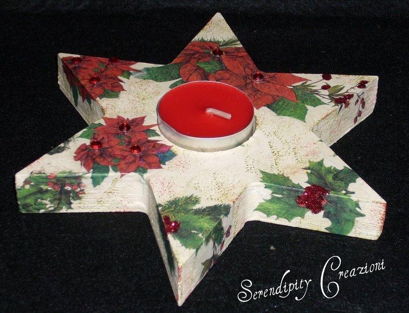 Portalumino, Portacandela in legno, decoupage, Natale