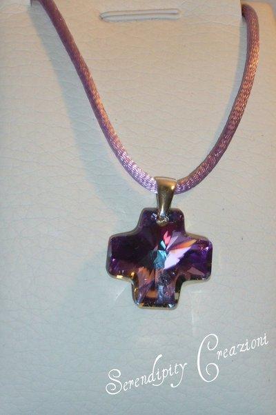 Collana croce Swarovski Lilla - Vitrail Light