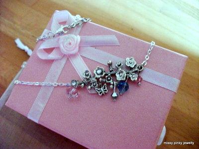 "Collana ""Ramo fiorito"" argento farfalla swarovsky cristalli"