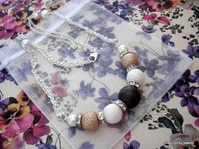 """Collana """"Mille bolle & Strass"""" perle strass nocciola marrone avorio"""