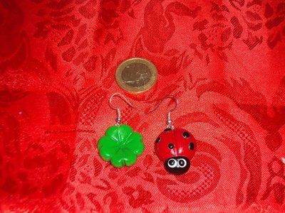 Coppia di Orecchini - Coccinella + quadrifoglio
