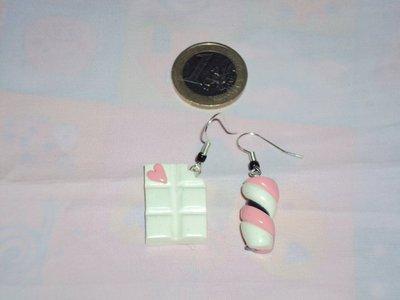 Coppia di Orecchini - Barretta di cioccolato bianco + Marshmallow