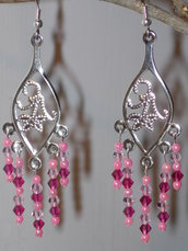 Orecchini in filigrana con swarovski originali light rosa e fucsia