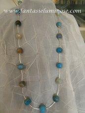 collana lunga agata azzurra a acciaio