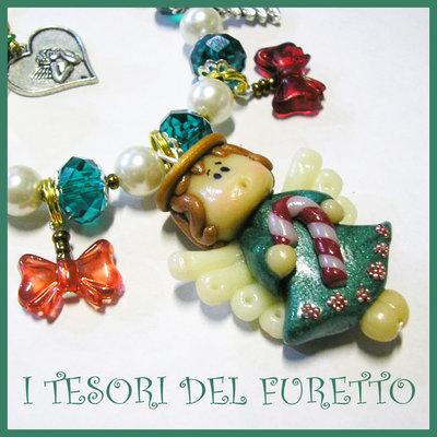 "BRACCIALE Serie FUFUANGEL ""Angioletto Verde Bastoncino zucchero"" Idea regalo Natale Bijoux artigianali Bracelet Angel Christmas"