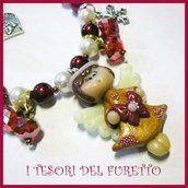 "BRACCIALE Serie FUFUANGEL ""Angioletto Oro fiocco Rosso"" Idea regalo Natale Bijoux artigianali Bracelet Angel Christmas"