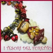 "BRACCIALE Serie FUFUANGEL  ""Angioletto Rosso con Fiocco neve Oro"" Idea regalo Natale Bijoux artigianali Bracelet Angel Christmas"