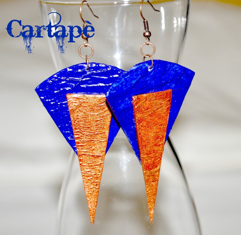 Blu e rame. Paper earrings