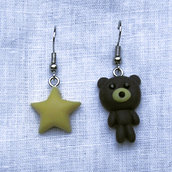 Orecchini fimo a forma di orsetto e stella