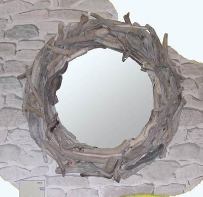 Specchio   OBLO' con bois flotté fatto a mano