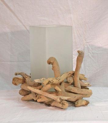 Luce da tavolo   NIDO' bois flotte fatto a mano