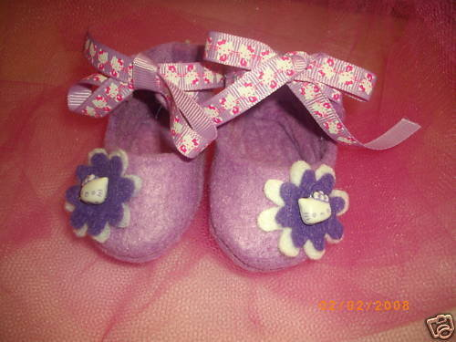 BABY SHOES HELLO KITTY FELT SCARPETTE FELTRO HELLO KITTY