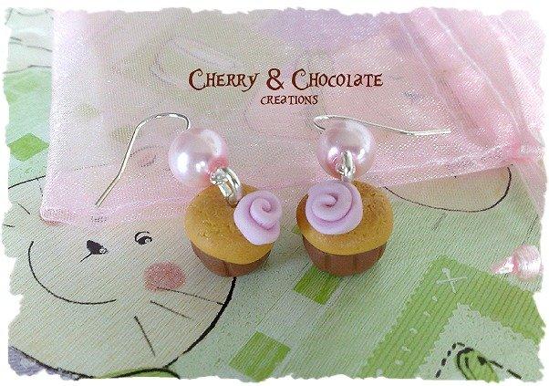 Orecchini muffin e rosa