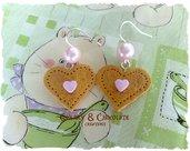 Orecchini in FIMO cuore rosa