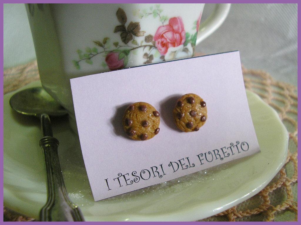 Orecchini Cookies biscotto cioccolato cookies fimo cernit perno lobo