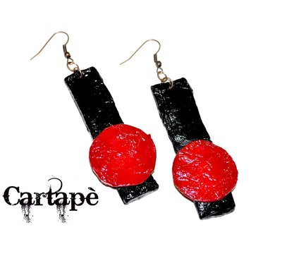Red and black- paper mache earrings