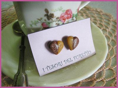 ORecchini Biscotti lobo perno fimo cernit cuore cioccolato