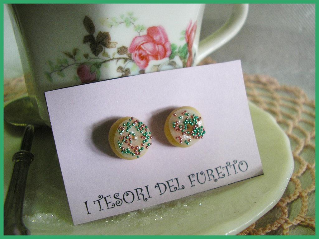 Orecchini Ciambelline Donuts fimo cernit idea regalo natale lobo perno