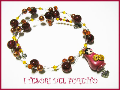 Collana Matrioska ROSSA Idea regalo Natale Fimo Cernit