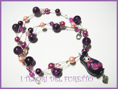 Collana Matrioska Viola Idea regalo Natale Fimo Cernit
