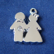 Charms Oggi Sposi + Strass - in metallo - mm 15