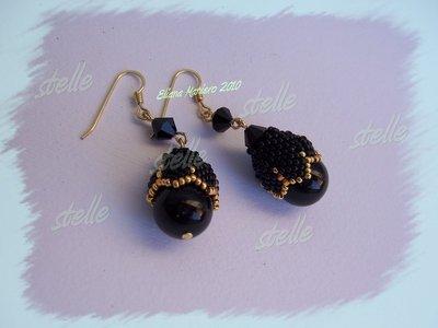 orecchini Pearl romance neri e oro
