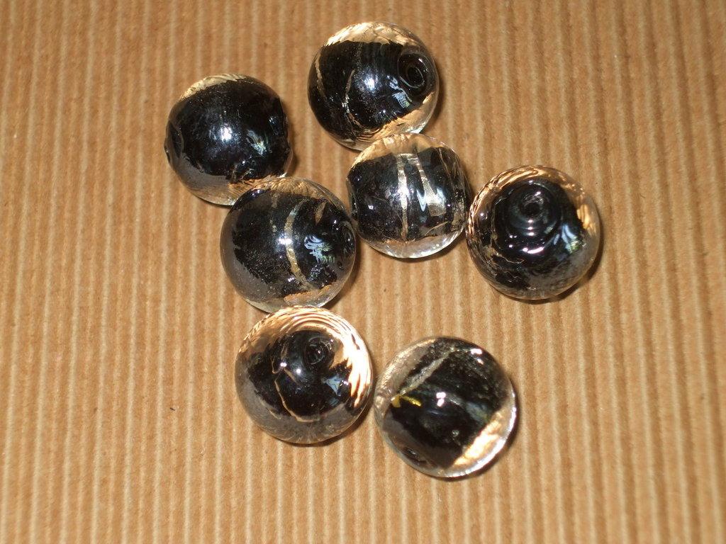 lotto 7 perle vetro nero 15mm
