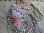 Deliziosa collana rosa e bianca
