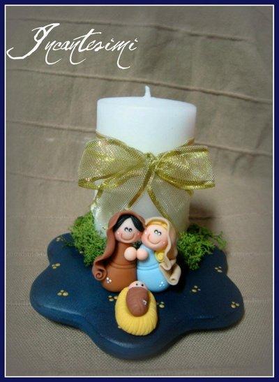 Presepe in pasta di mais con candela - Base in terracotta