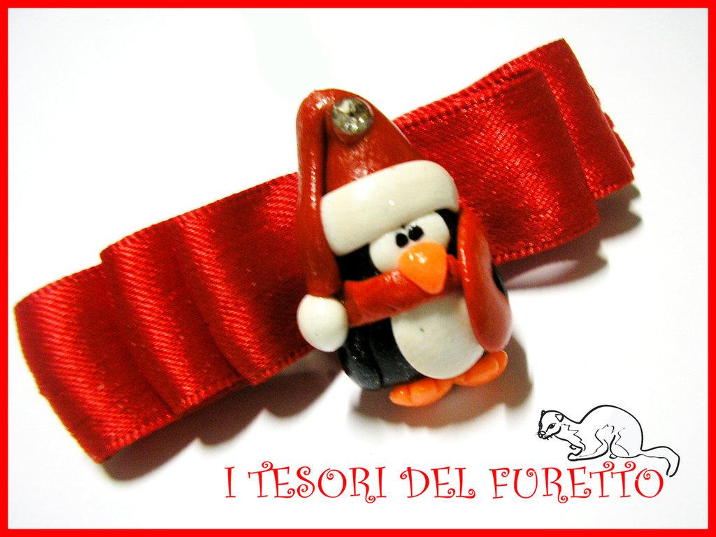 """Fermaglio Natale 2013 """"PINGUINO"""" accessori capelli bambina ragazzazza idea regalo"""
