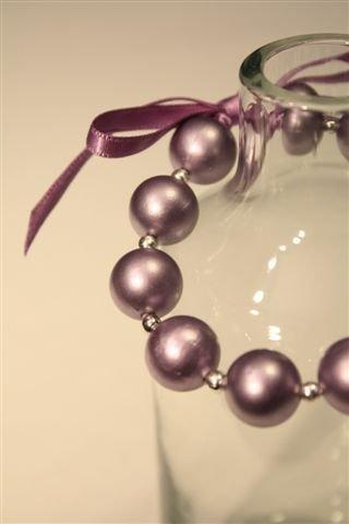 Candy - Bracciale perlone glicine e nastro in Raso