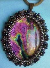 ciondolo, collana, vetro dicroico rosa, viola, lilla