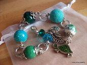 "Bracciale ""Tenera Tartarughina"" cristalli, agata verde, perla ceramica, tartaruga, foglie, argento"