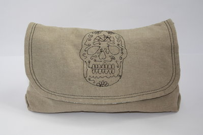 Sugar Skull - Trousse ricamata con teschio