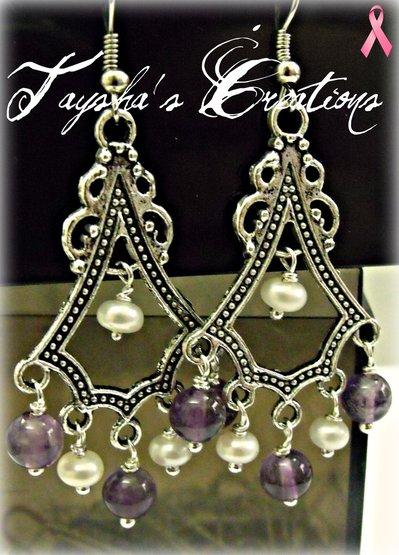 ''Mystic fall'' - orecchini perle e ametista