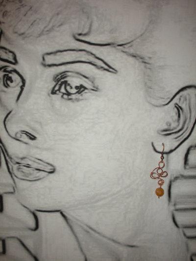orecchini wire e perle in vetro