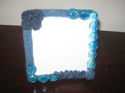 portafoto rivestito in tricotin e vetro