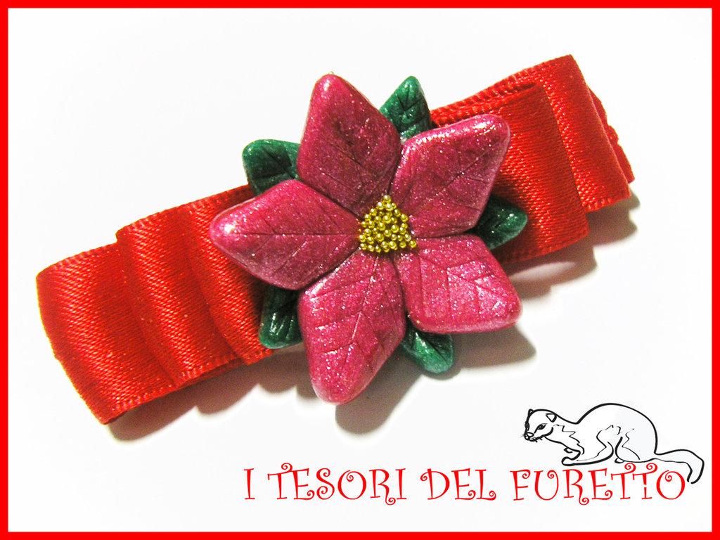 """Fermaglio Natale 2013 """"STELLA DI NATALE ROSSO""""  accessori capelli bambina ragazzazza idea regalo"""