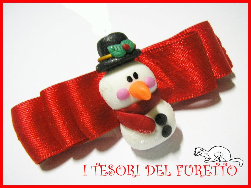 """Fermaglio Natale 2013"""" PUPAZZO DI NEVE"""" accessori capelli bambina ragazza idea regalo SNOWMAN HAIRCLIP"""