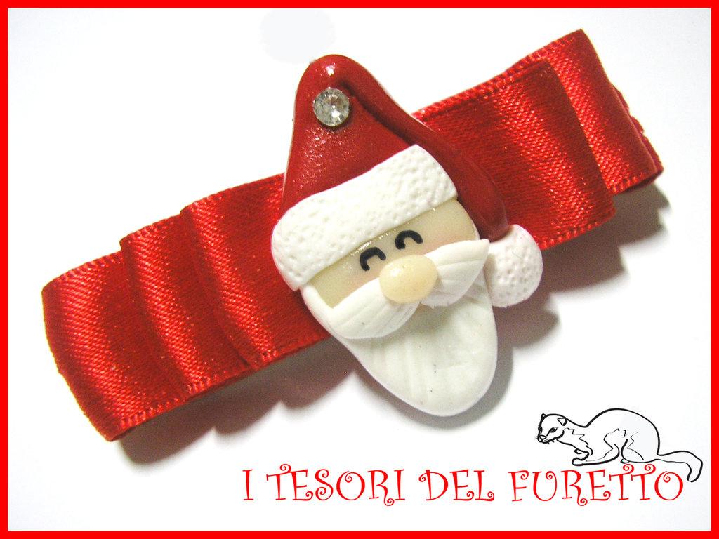 Fermaglio Natale 2013 BABBO NATALE accessori capelli bambina ragazza SANTA CLAUS HAIR CLIP idea regalo