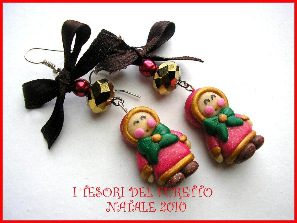 """Orecchini """"Natale 2014"""" Eschimesi Fimo cernit idea regalo Eschimesi Bimbi"""