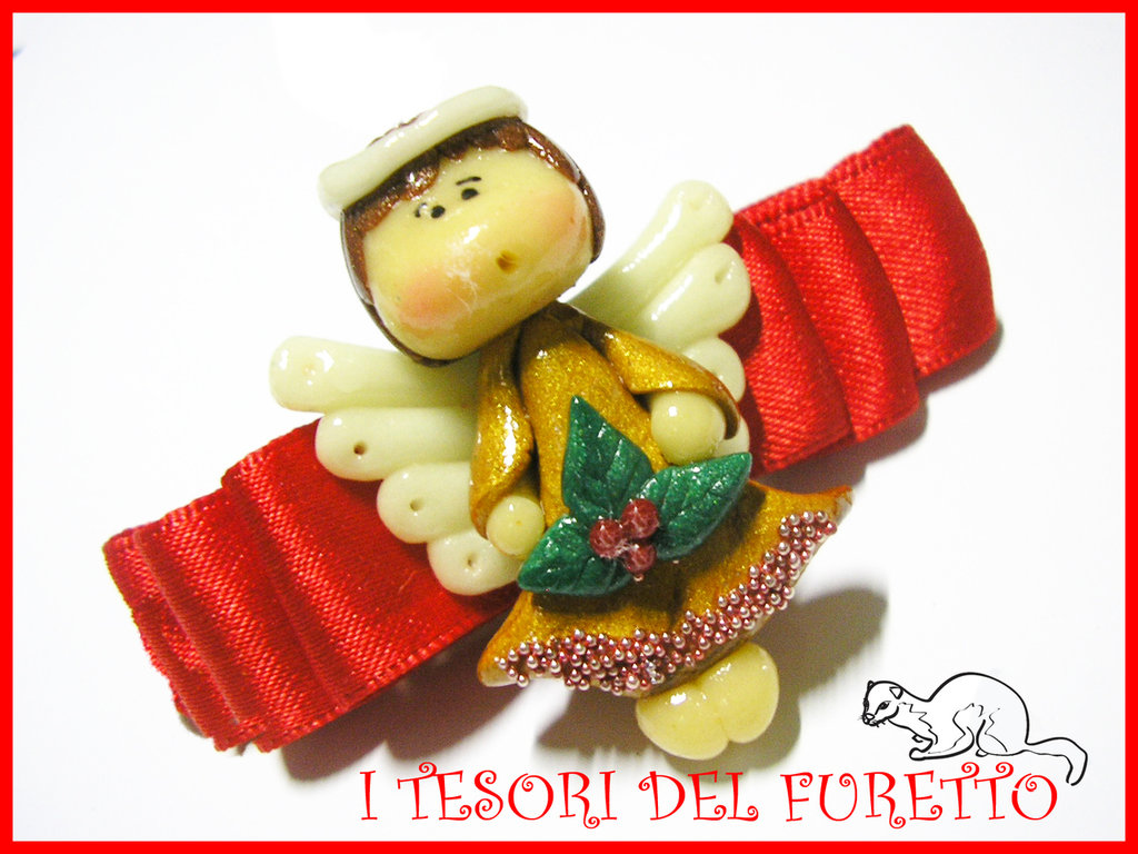 Fermaglio Natale 2011 Angelo angioletto fimo cernit