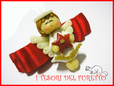 Fermaglio Natale fufuangel 2014 Angelo angioletto fimo cernit