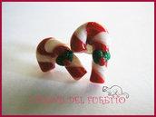 Orecchini Natale Perno bastoncini zucchero fimo cernit idea regalo
