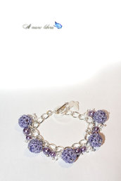Bracciale argentato con Perle rivestite all'uncinetto lilla e perle decorative