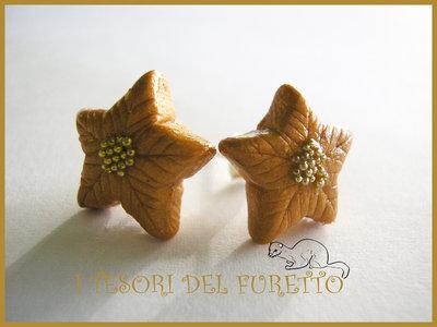 orecchini Natale perno Stella Natale oro idea regalo