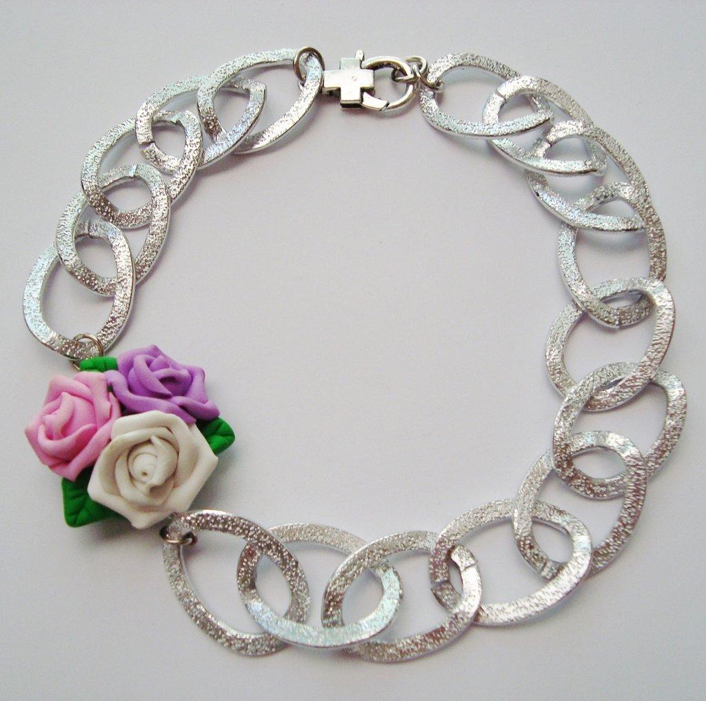 *PROMOZIONE - 20% * collana bouquet rose fimo
