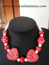 collana ceramica bianca e rossa