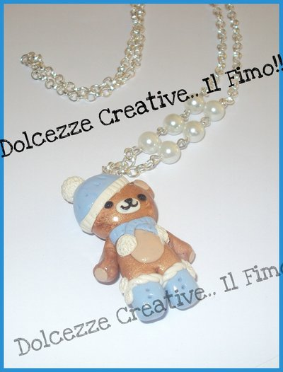 ★★SALDI Collana - I love winter - Rilakkuma - orsetto in fimo e cernit - idea regalo natale